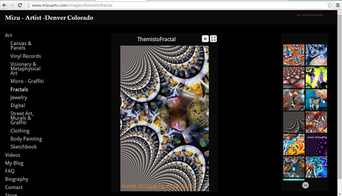 A screen capture of the fractals gallery on Mizu's website