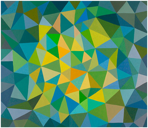 A painting composed of many blue, yellow and green hued triangles