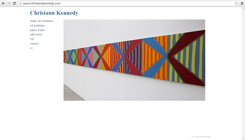 A screen capture of the front page of Christiann Kennedy's  art website