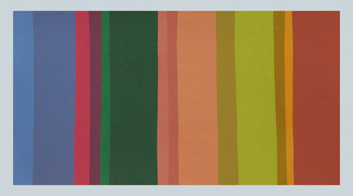 A silkscreen print composed of several stripes of colour