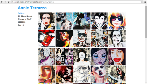 A screen capture of Annie Terrazzo's online portfolio