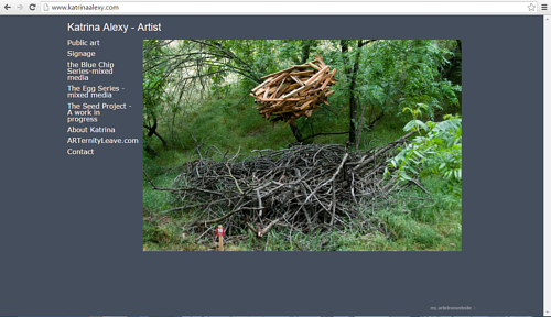 A screen capture of Katrina Alexy's art website