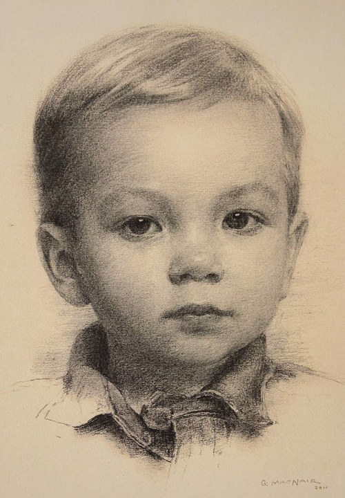 A graphite portrait of a young boy