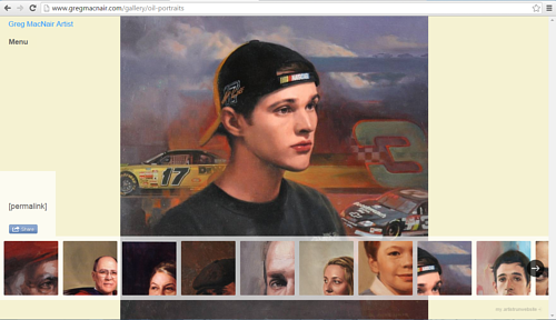 A screen capture of the oil portraits gallery on Greg MacNair's website