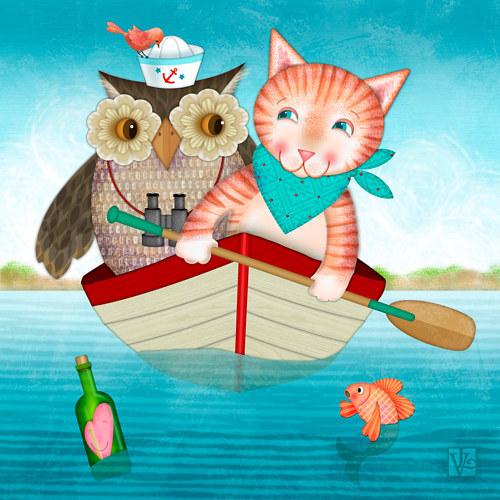 A digital illustration of an owl and a cat in a boat