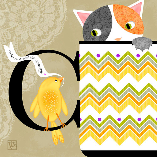 A digital illustration of a cat looking out at a canary from inside a coffee mug