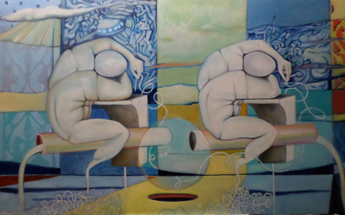A surreal painting of two male figures that seem to dissolve into the background