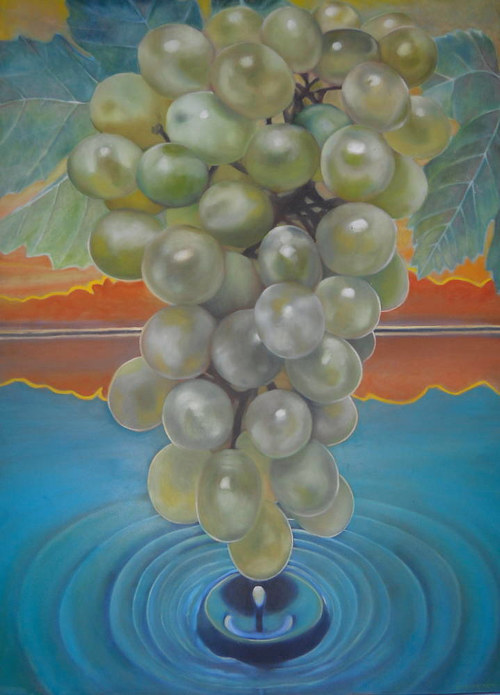 A painting of a bunch of grapes suspended above a pool