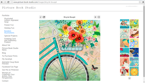 A screen capture of Valerie Lesiak's illustration website