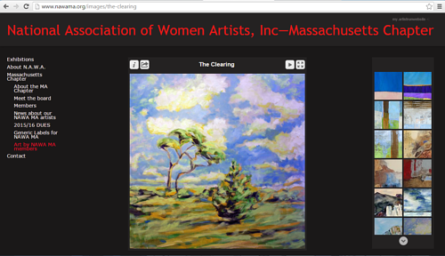 A screen capture of the gallery of artworks the NAWA - MA website