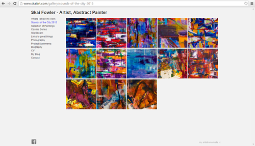 A screen capture of Skai Fowler's recent work on her art website