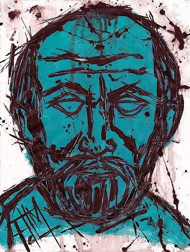 Expressionistic portrait of a man made with blue paint