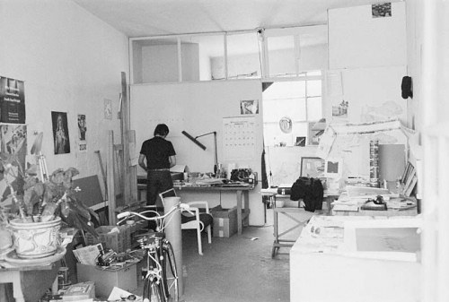 A photo of Ed Ruscha working in his studio