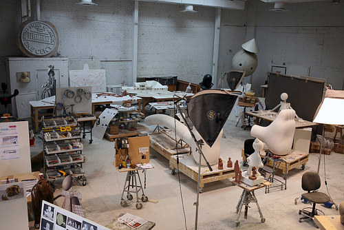A photo of Tom Otterness' sculpture studio in Brooklyn