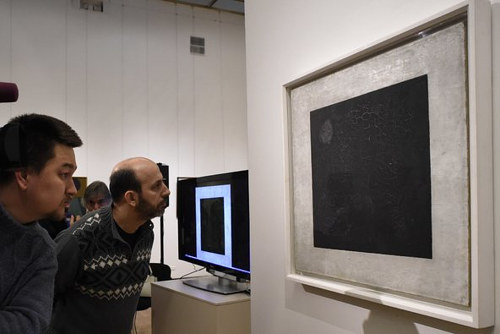 A photo of Black Square in a museum in Moscow