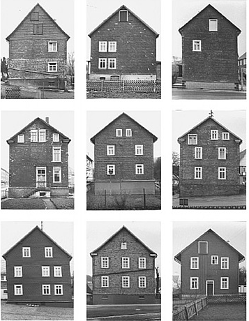 A set of nine photos depicting similar framework houses
