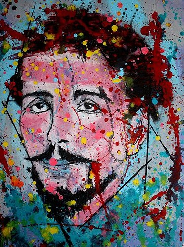 Painted portrait of a man with many paint splashes