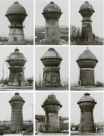 A black and white photo series of water towers in the 1980's