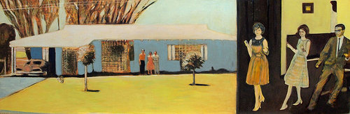 Painting of a house and group of people from the 60's