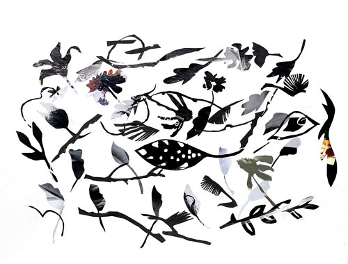 A collage piece with black nature silhouettes on a white background