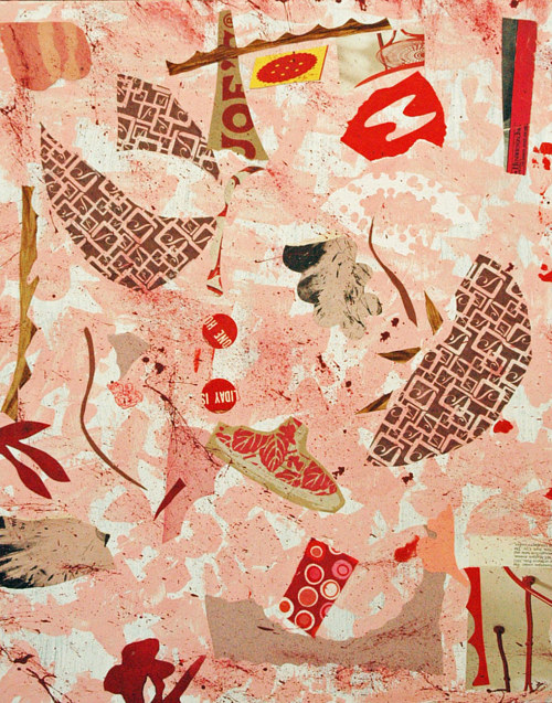 An abstract collage with pink and red tones
