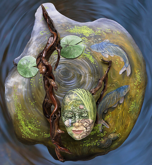 A canvas print of a mask painted to look like a small pond