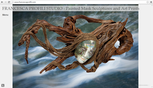 A screen capture of Francesca Profili's art website