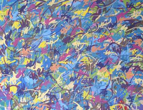 An abstract painting using many different colours in uniform marks