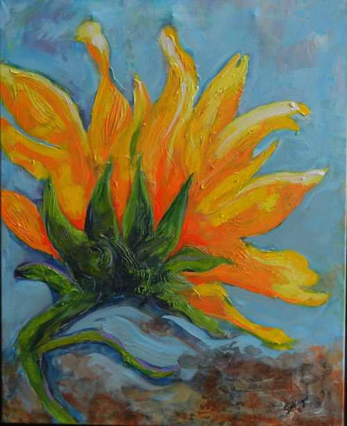 A painting of a blooming sunflower