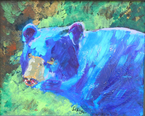 An acrylic painting of a black bear
