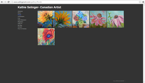A screen capture of the florals gallery on Kathie Selinger's website