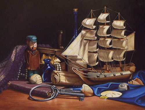 Painting of toy ship and keys