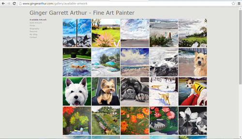 A screen capture of Ginger Arthur's online gallery of artwork