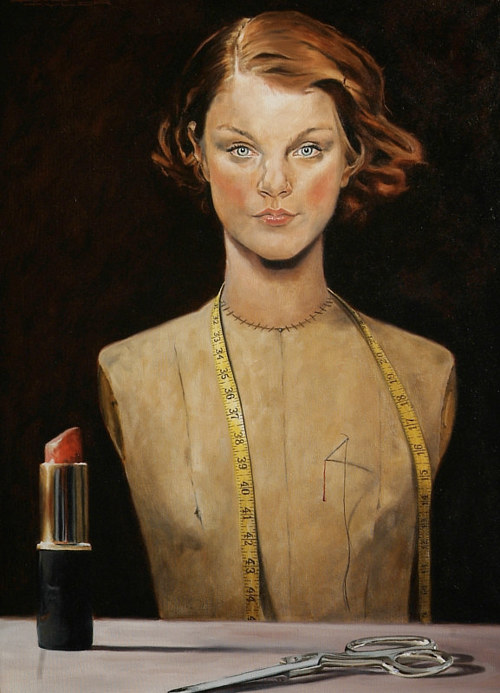 A painting of a sewing mannequin with a real female face