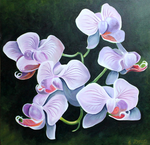 A painting of a bunch of orchids on a dark background