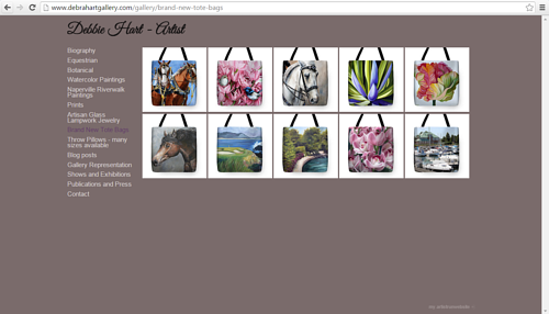 A screen capture of Debbie Hart's online gallery of tote bags