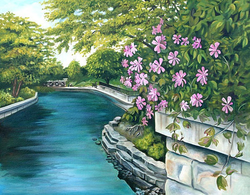 A painting of a river flowing through a cultivated garden