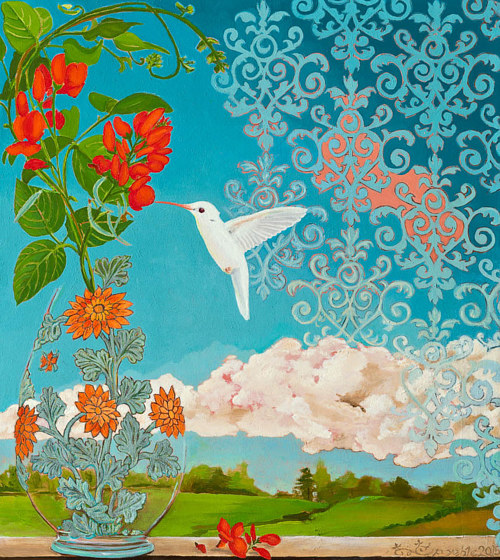 A painting of a white hummingbird on a blue sky background
