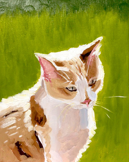 An oil painting of a cat in a sunny field