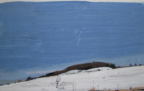 A small mixed-media painting of a snowy landscape