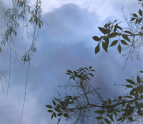 A painting of some tree branches hanging over a dark sky