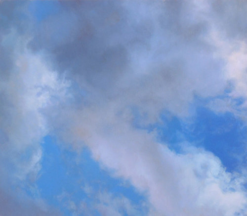A painting of some clouds on a blue sky