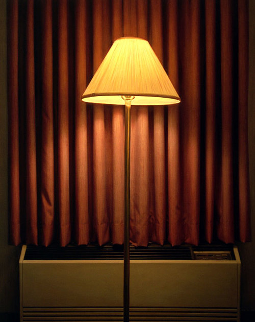 A painting by Dan Witz of a lamp against a dark red curtain