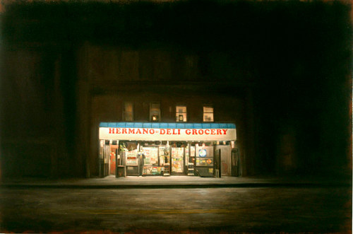 A painting by Dan Witz of a deli and grocery at night