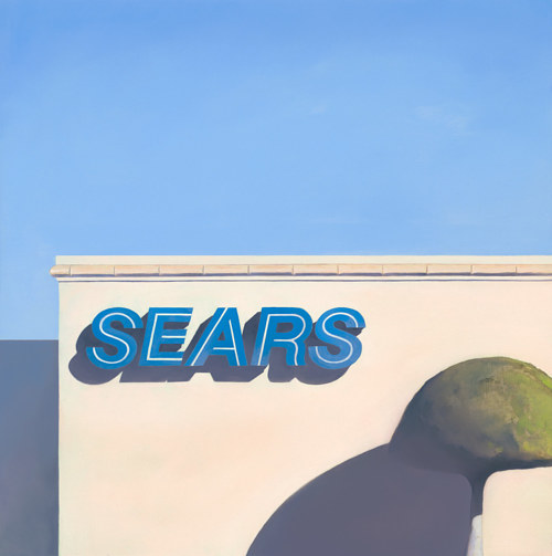 A painting of the exterior of a Sears store in Torrance