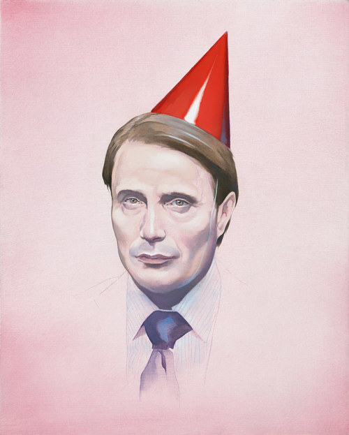 A painting by Brandon Bird of Hannibal Lecter wearing a party  hat