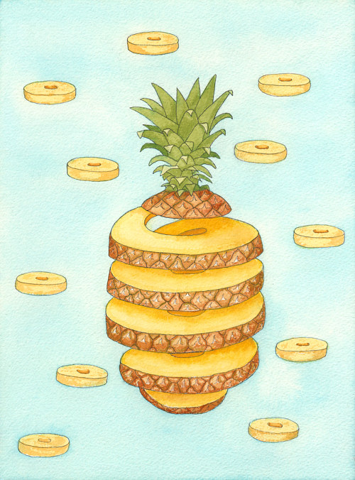 A watercolour painting of a pineapple