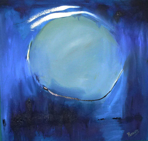 Moon shaped oil painting