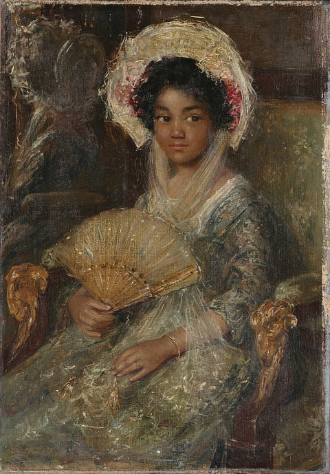 "A photo of the painting ""Girl Holding a Fan"" by Simon Maris"