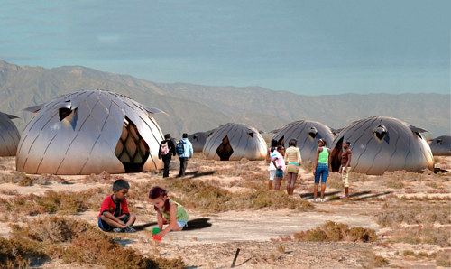A photo of deployable emergency module homes made by architecture students in Peru